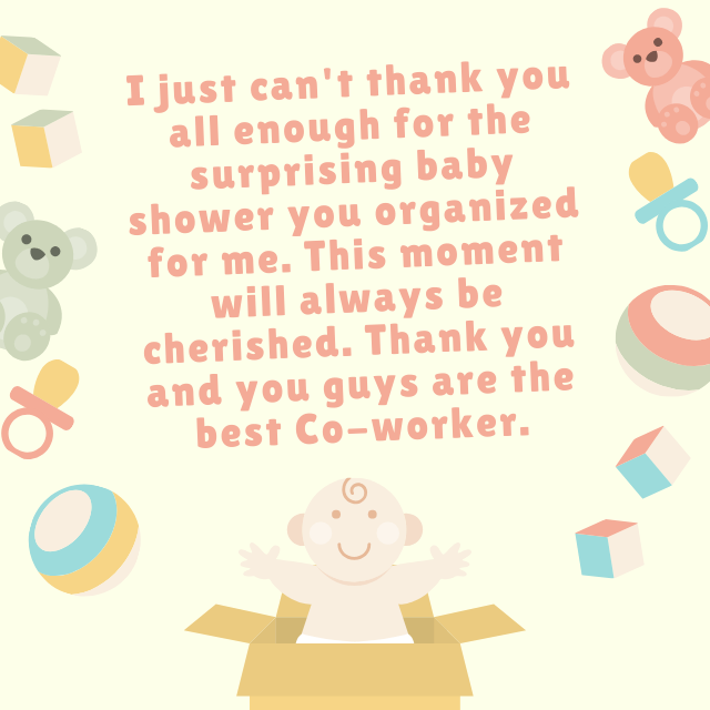 Thank You co-worker for organising baby shower