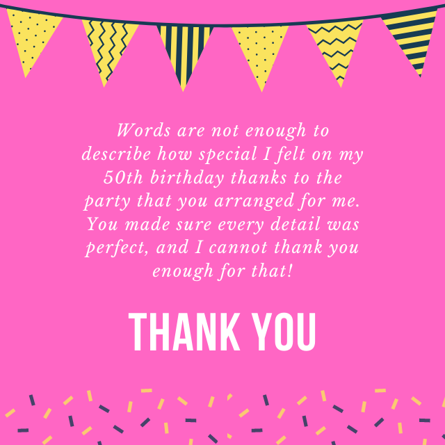 thank you for arranging birthday party