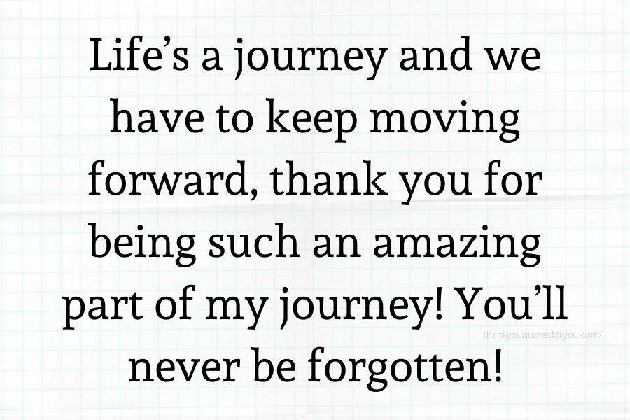 Life's a journey and we have to keep moving forward, thank you for being such an amazing part of my journey! You'll never be forgotten!