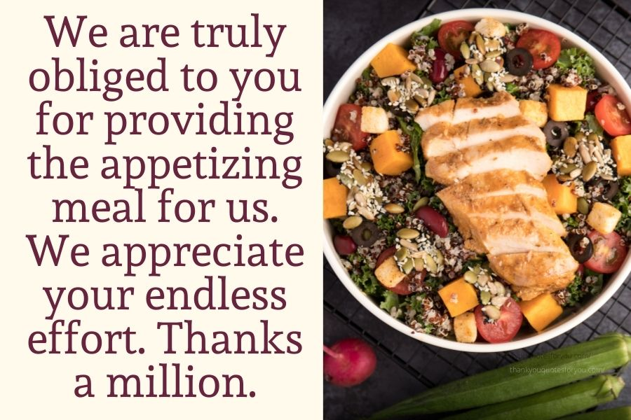 We sincerely show our thankfulness to you for all those healthy and delicious dishes.