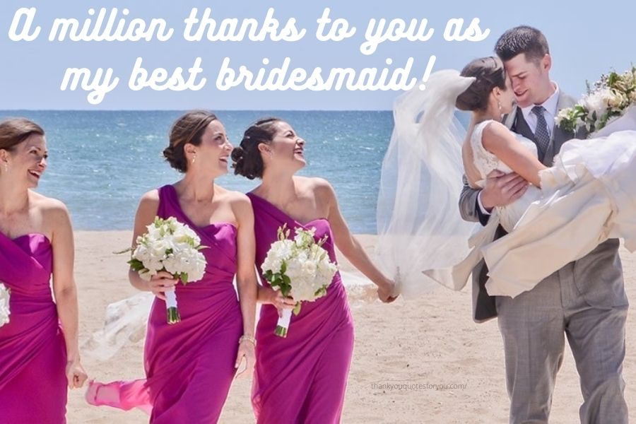 I express my deepest thanks to you for performing a very integral part on my wedding day